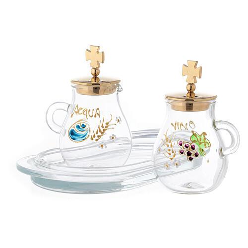 Pair of golden brass jugs model Bologna 2