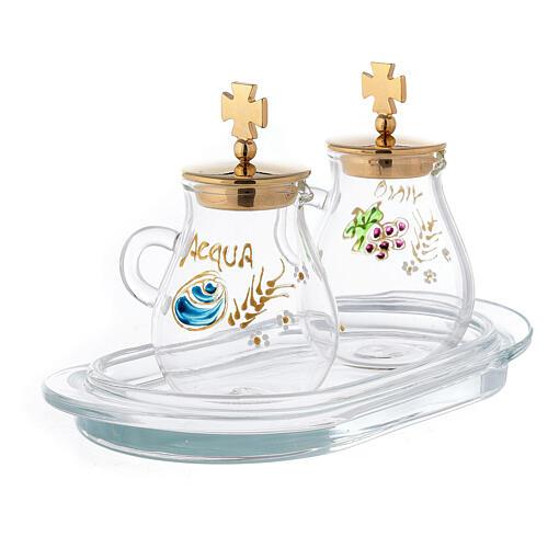 Pair of golden brass jugs model Bologna 3