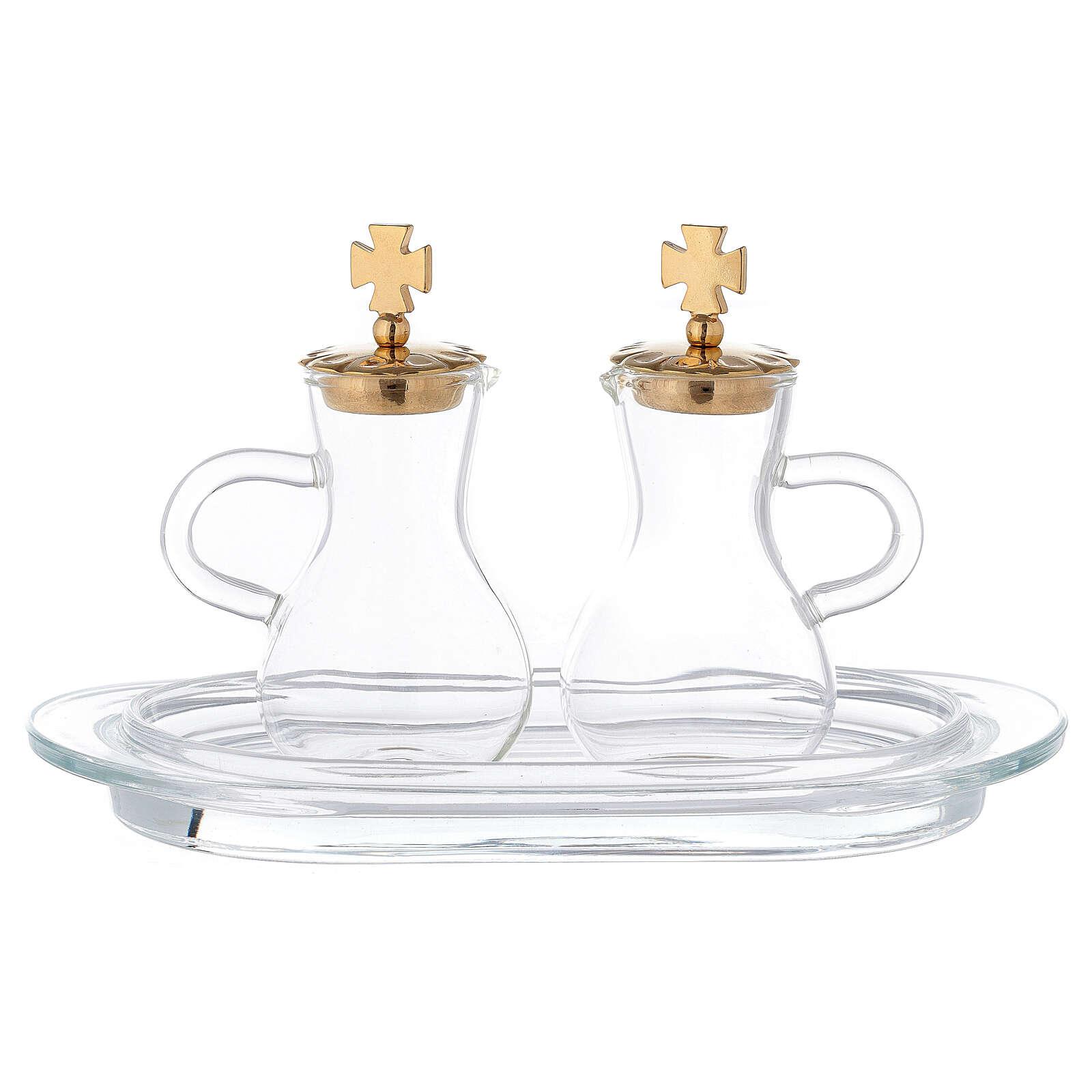 Pareja vinajeras latón dorado y vidrio modelo Parma 4