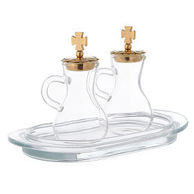 Pareja vinajeras latón dorado y vidrio modelo Parma s3