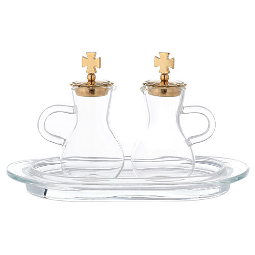 Pareja vinajeras latón dorado y vidrio modelo Parma 1