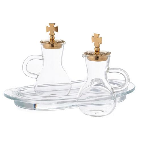 Pareja vinajeras latón dorado y vidrio modelo Parma 2