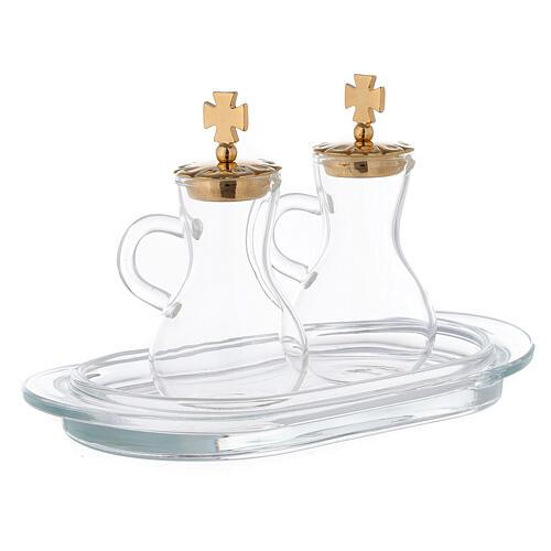 Pareja vinajeras latón dorado y vidrio modelo Parma 3