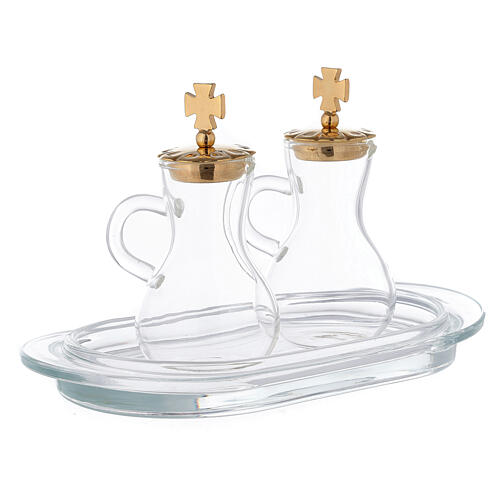 Parma cruets gold plated brass and glass 3