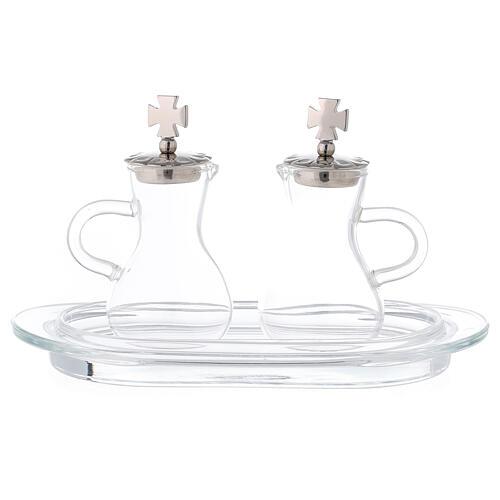 Water and wine service zamak and glass model Parma 1