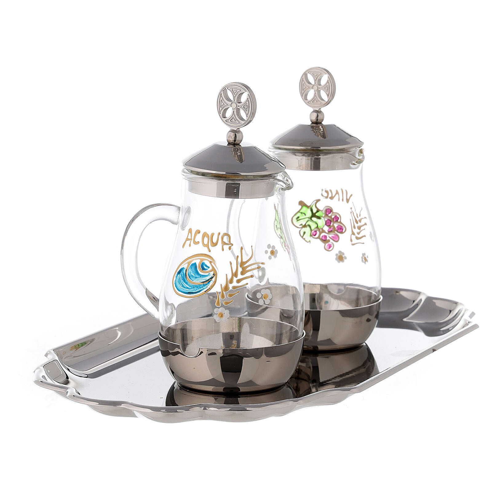 Water and wine service in silver plated brass model Como 4