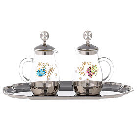 Water and wine service in silver plated brass model Como s1