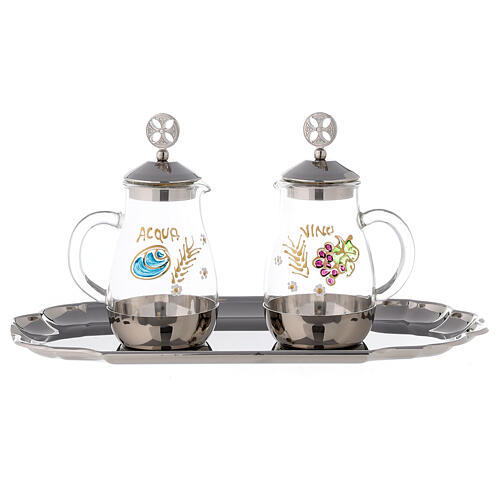 Water and wine service in silver plated brass model Como 1