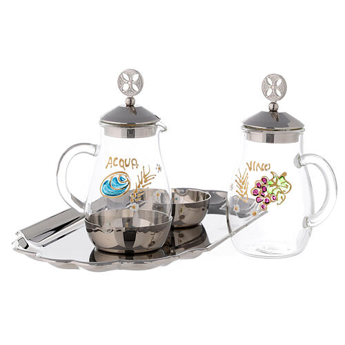 Water and wine service in silver plated brass model Como 2