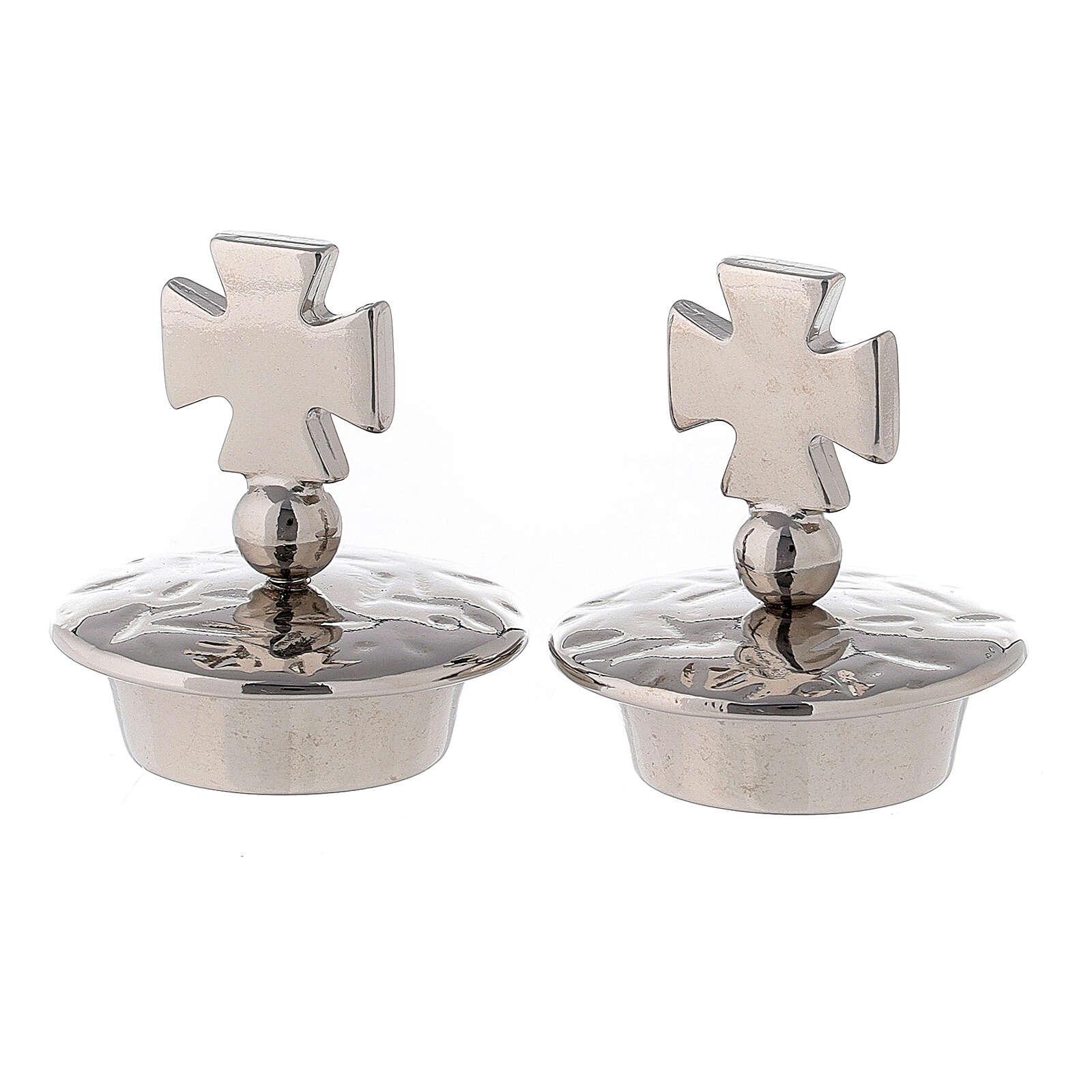 Pair of jug stoppers mod. Venezia-Roma silver Maltese cross 4