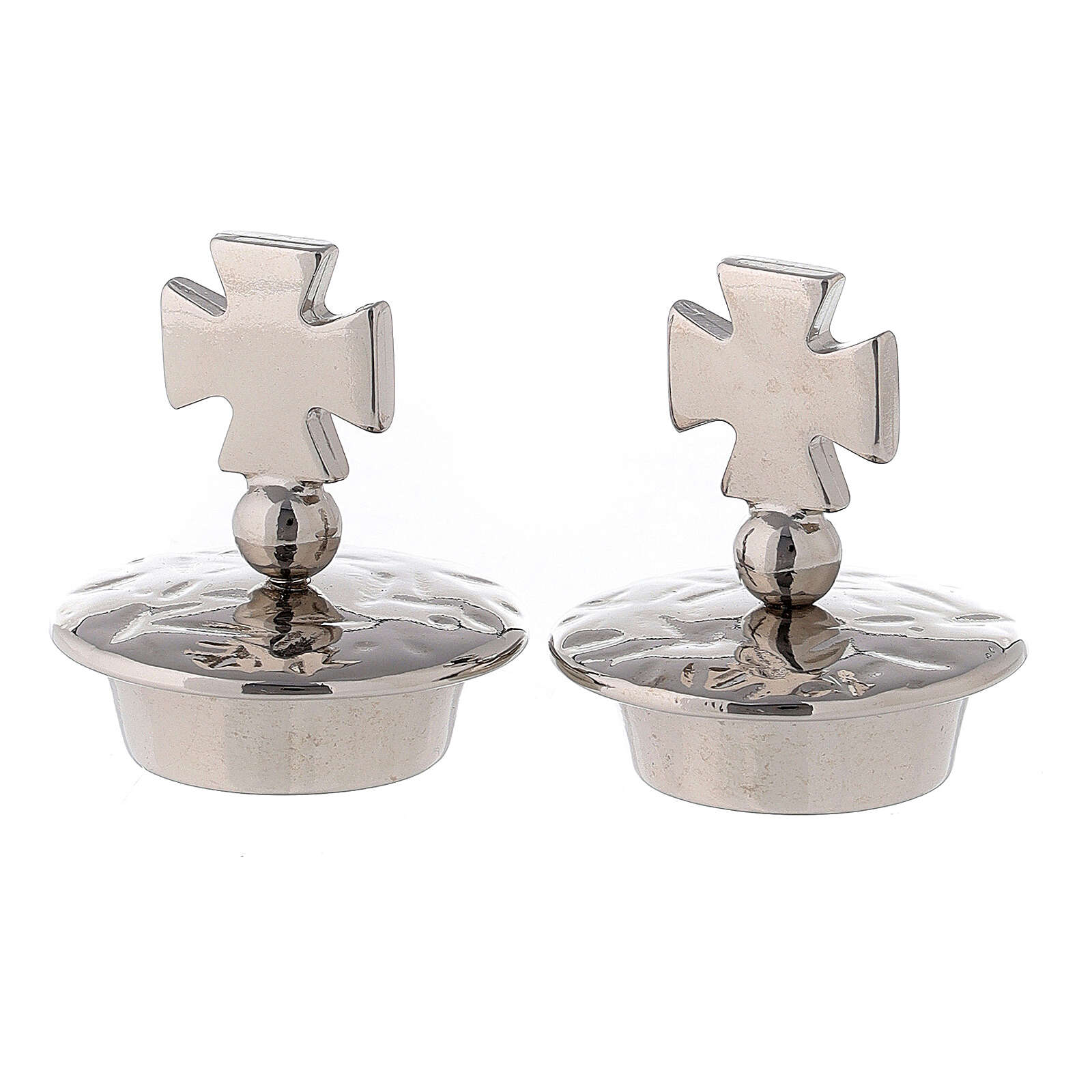 Pareja tapones para vinajeras mod. Venecia-Roma plata cruz de Malta 4