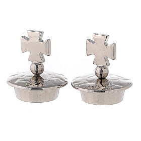 Pareja tapones para vinajeras mod. Venecia-Roma plata cruz de Malta s1