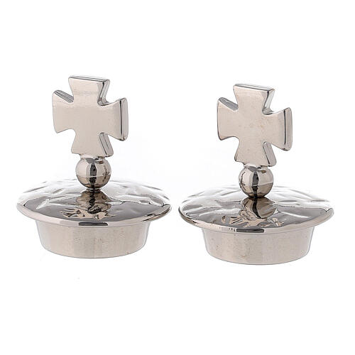 Pareja tapones para vinajeras mod. Venecia-Roma plata cruz de Malta 1