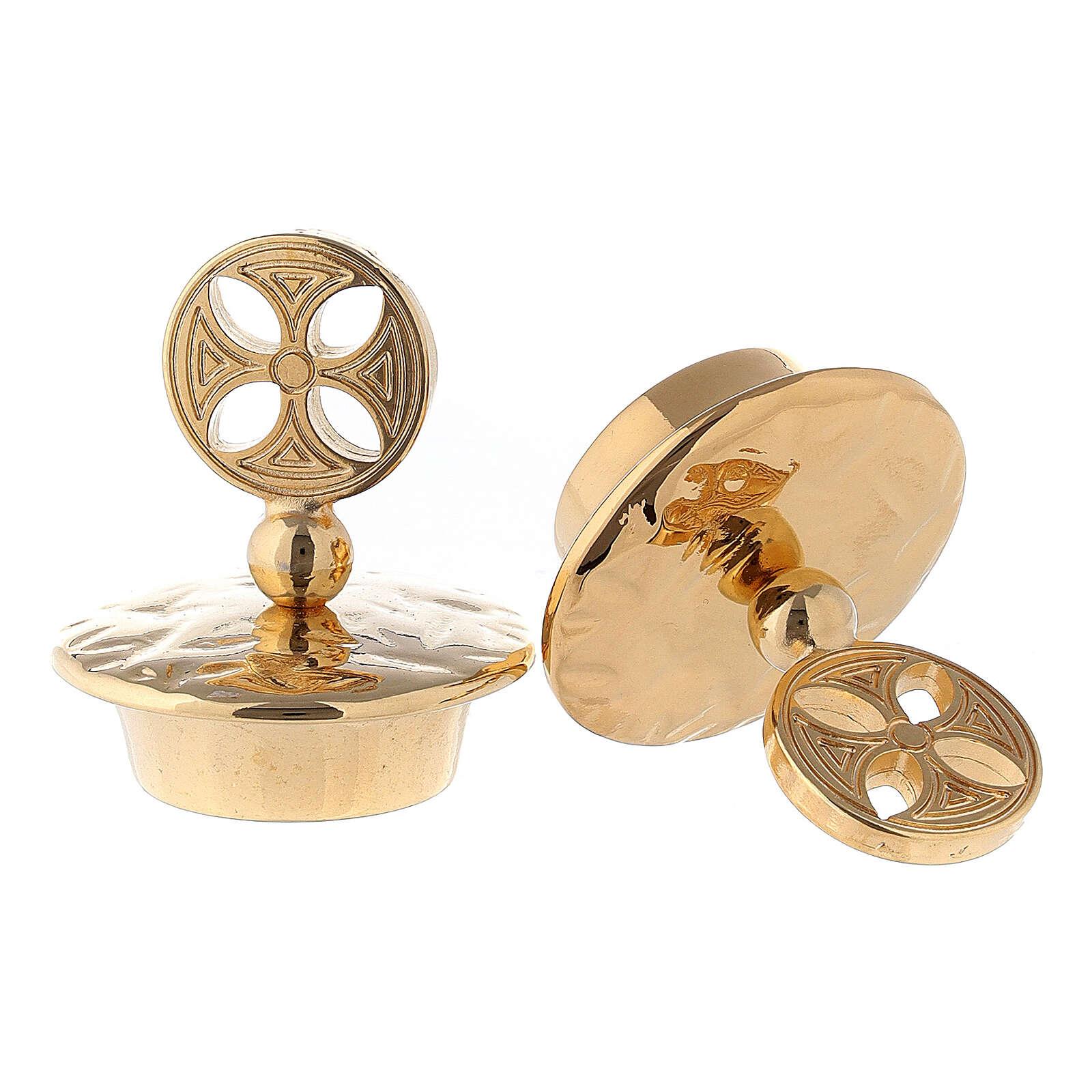 Pair of round cross golden brass caps for Venezia-Roma jugs 4