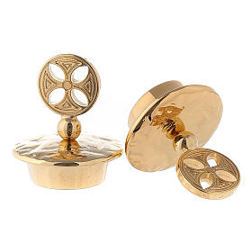 Pareja tapones latón dorado cruz redonda para vinajeras Venecia-Roma  s2