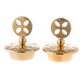 Set of gold plated brass lids round cross for Venise-Rome cruets s1