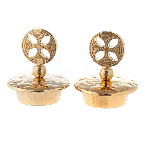 Set of gold plated brass lids round cross for Venise-Rome cruets 1