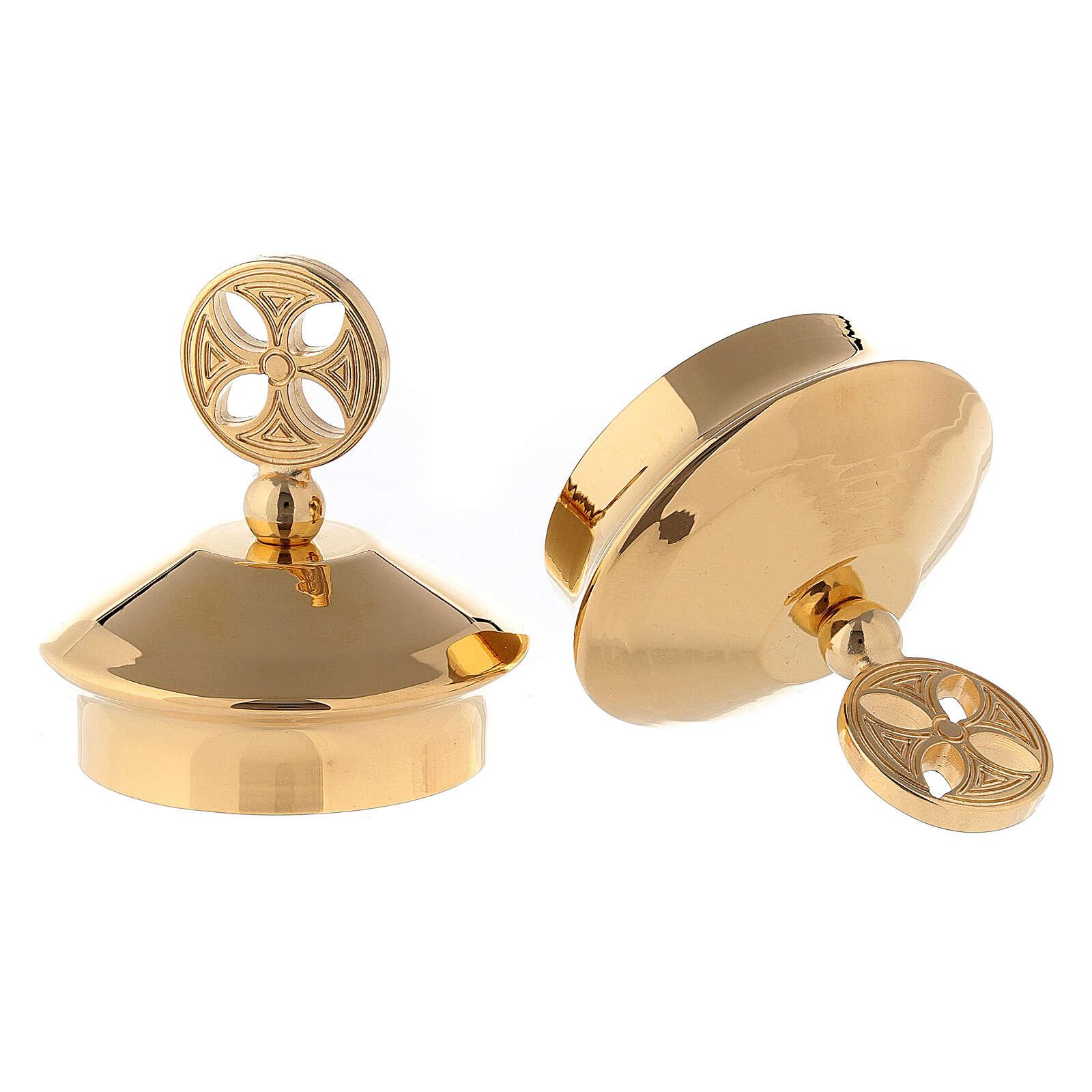 Pareja de tapones vinajeras modelo Fiesole-Como latón dorado 4