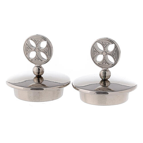 Pair of 24K silver plated brass caps for Bologna model 1