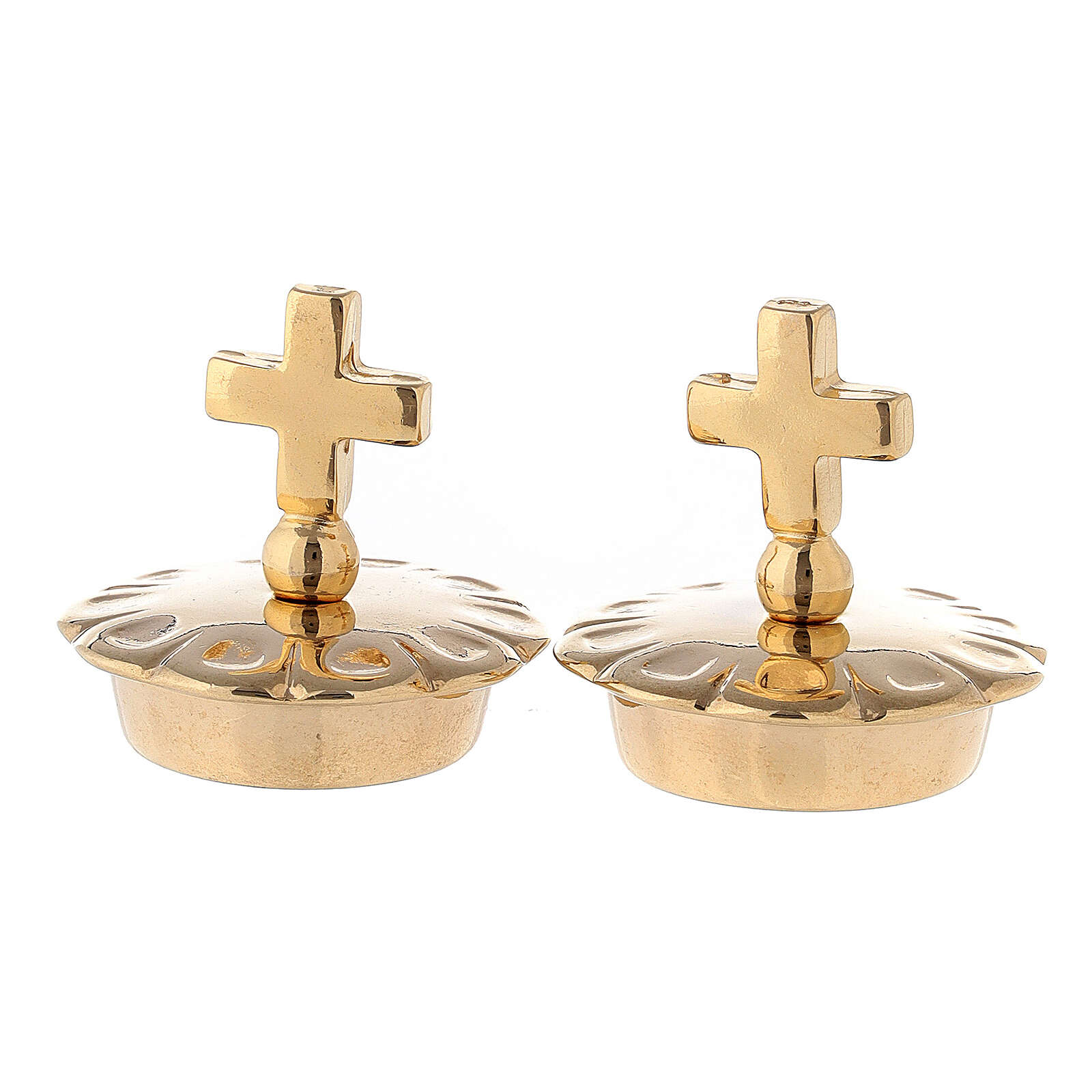 Pair of 24K brass simple cross caps for Palermo-Ravenna-Parma pitchers 4