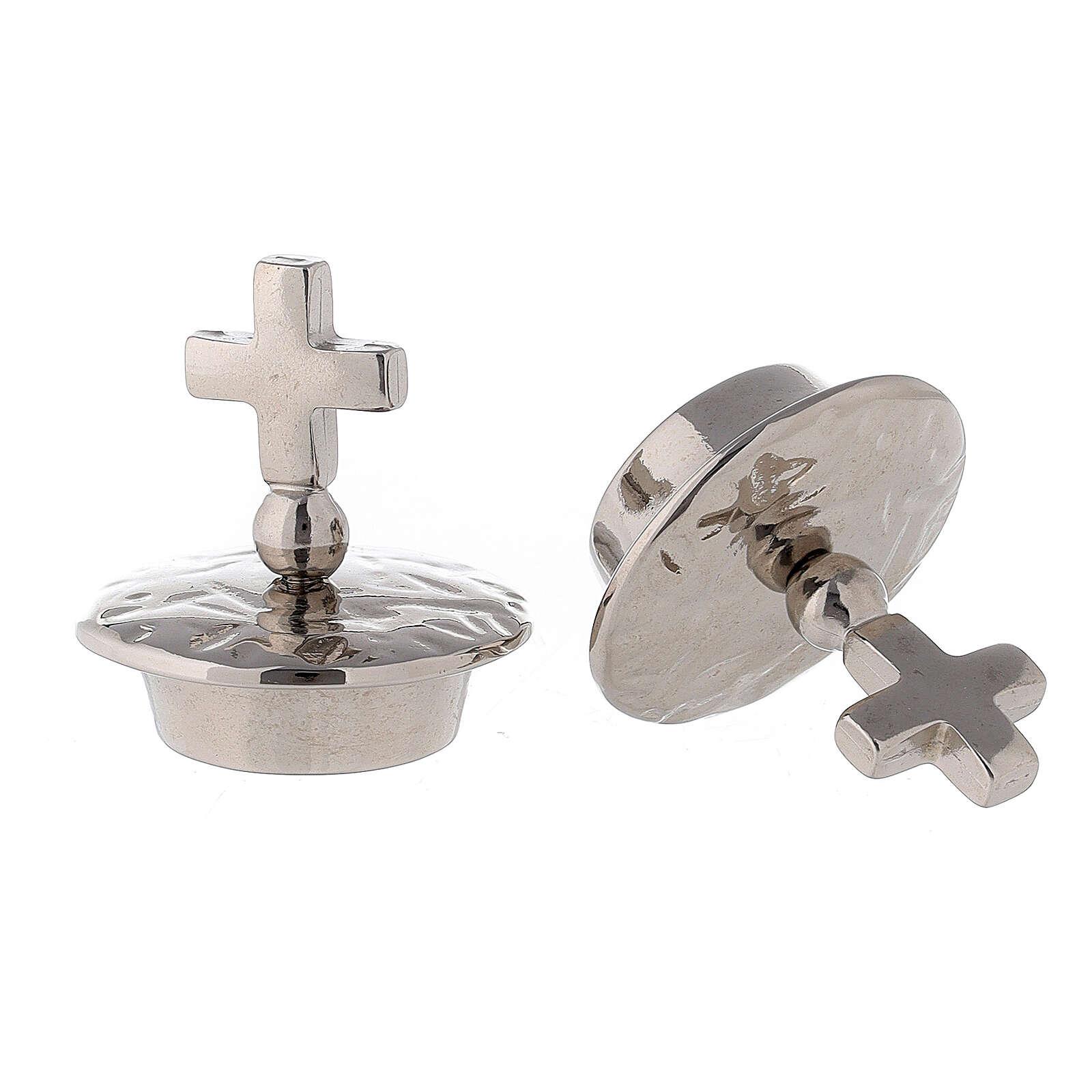 Tapones cruz simple latón plateado 24k para vinajeras Venecia-Roma 4