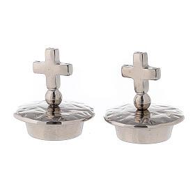 Tapones cruz simple latón plateado 24k para vinajeras Venecia-Roma s1