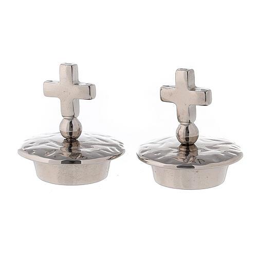 Tapones cruz simple latón plateado 24k para vinajeras Venecia-Roma 1