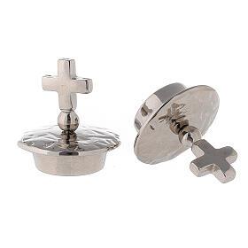 Bouchons croix simple laiton argenté pour burettes Venise - Rome s2