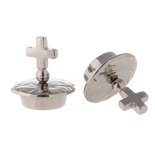 Bouchons croix simple laiton argenté pour burettes Venise - Rome 2