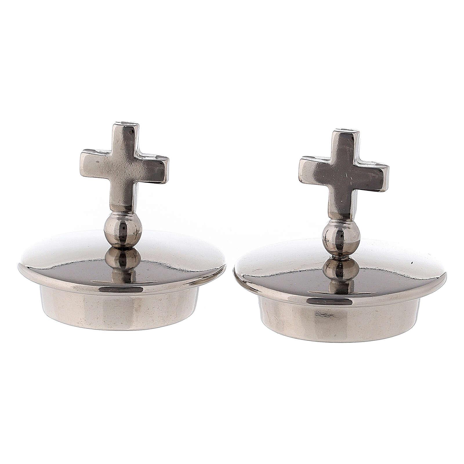 Tapones con cruz simple plata para vinajeras Bologna 4