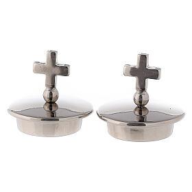Tapones con cruz simple plata para vinajeras Bologna s1