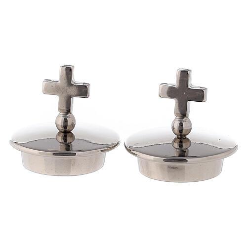 Tapones con cruz simple plata para vinajeras Bologna 1