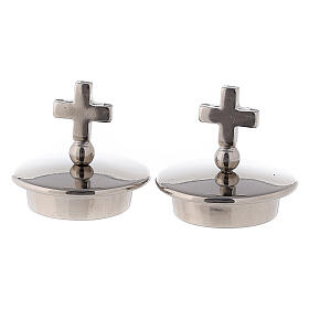 Lids with simple cross silver-plated for Bologna cruets s1