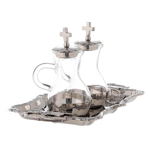 Set burettes eau et vin laiton nickelé modèle Parme 75 ml 3