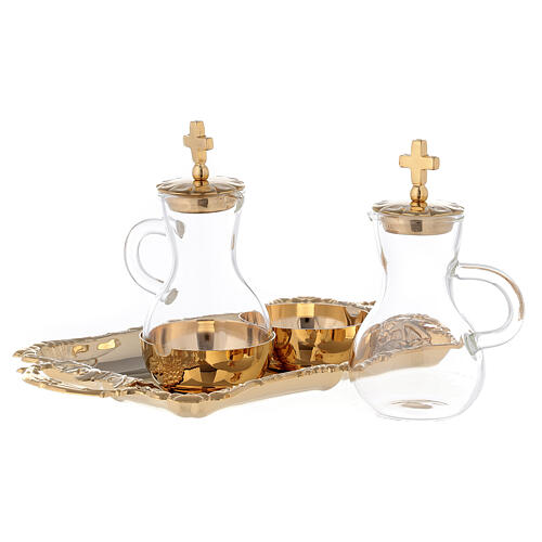 Service for water and wine golden brass 24k model Parma 2
