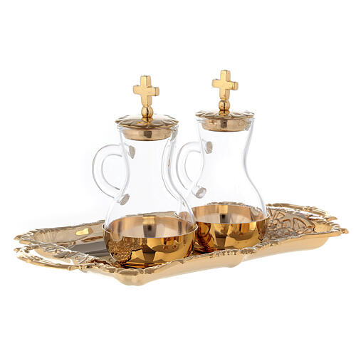 Service for water and wine golden brass 24k model Parma 3