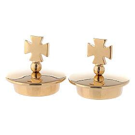 Coppia tappi per brocchette ottone dorato 24k mod Bologna croce Malta s1