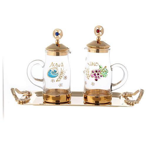 Servizio per acqua e vino modello Fiesole ottone dorato 24K  1