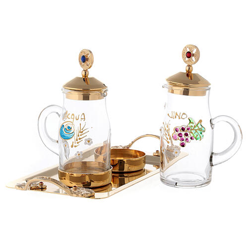 Servizio per acqua e vino modello Fiesole ottone dorato 24K  2
