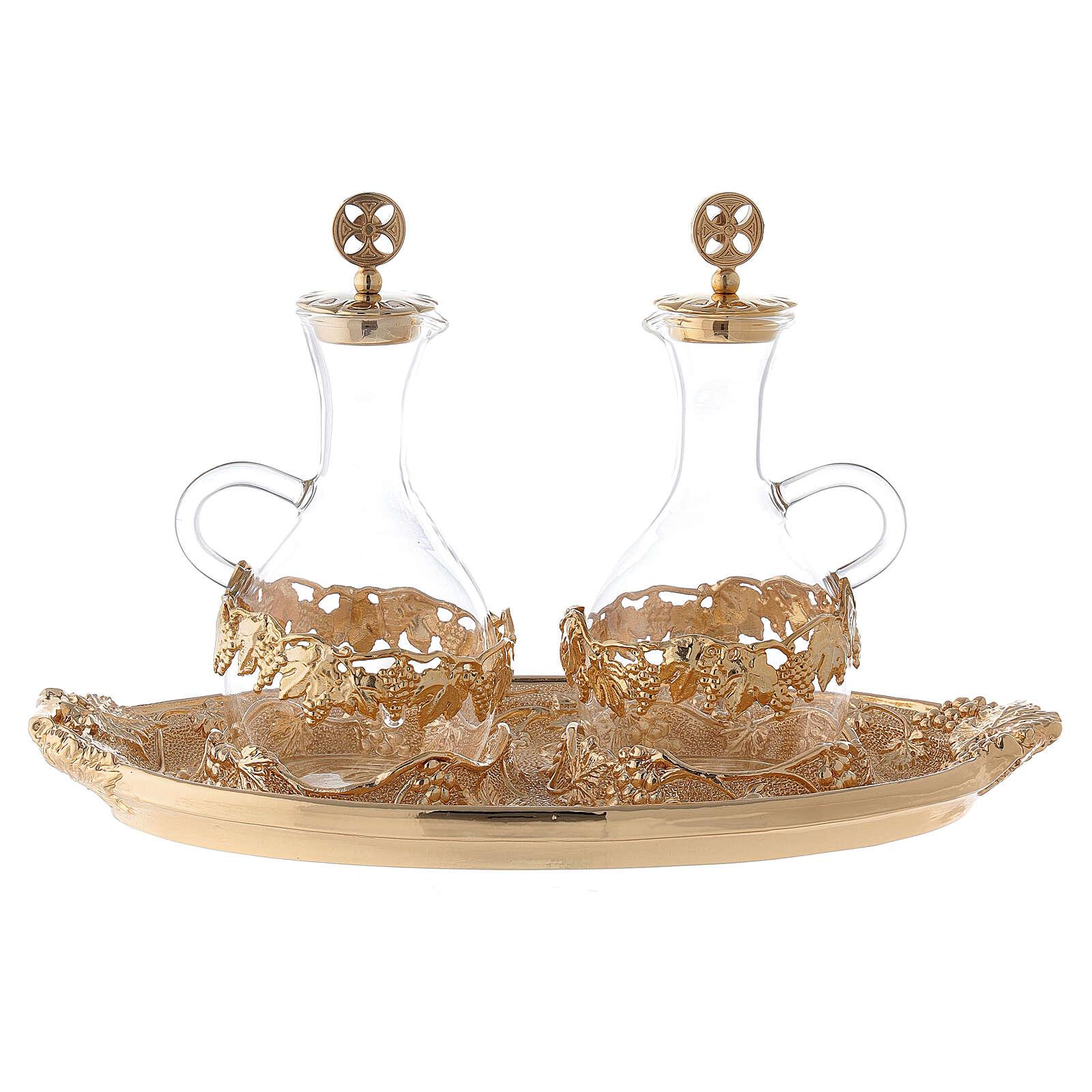 Vinajeras vidrio agua y vino plato decorado 4
