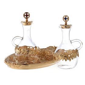 Vinajeras vidrio agua y vino plato decorado s2