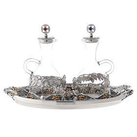 Vinajeras vidrio agua y vino plato oro plata s1
