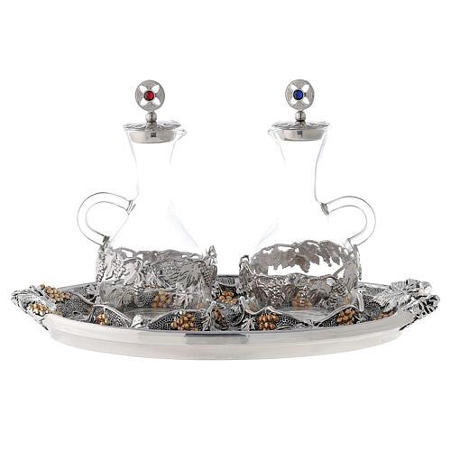 Vinajeras vidrio agua y vino plato oro plata 1