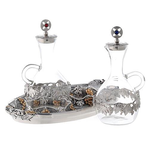 Vinajeras vidrio agua y vino plato oro plata 2