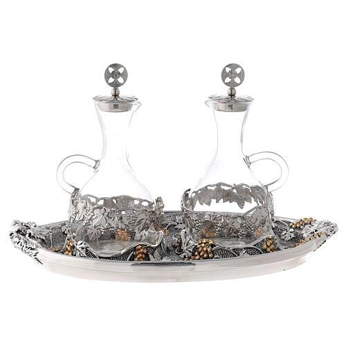 Vinajeras vidrio agua y vino plato oro plata 3