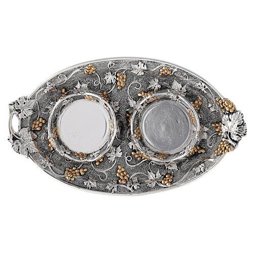 Vinajeras vidrio agua y vino plato oro plata 4