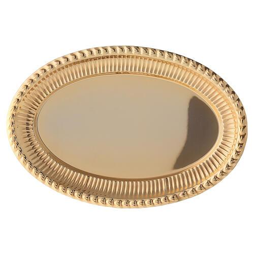 Bandeja latón dorado ovalado recambio set celebración 24x16 cm 2