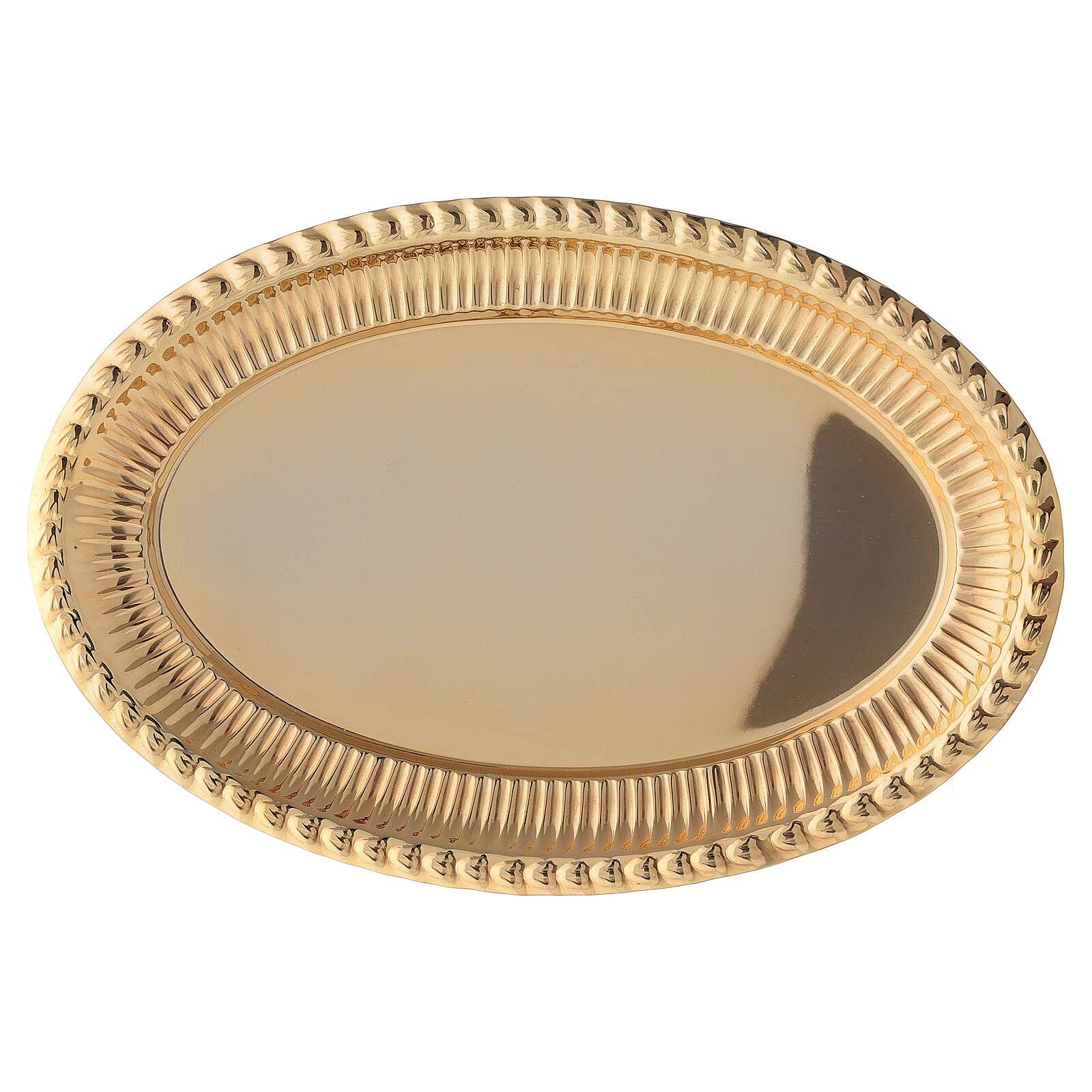 Vassoio ottone dorato ovale ricambio set celebrazione 24x16 cm 4
