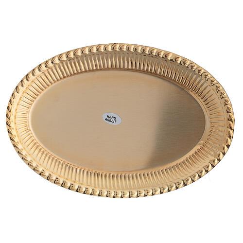 Vassoio ottone dorato ovale ricambio set celebrazione 24x16 cm 3