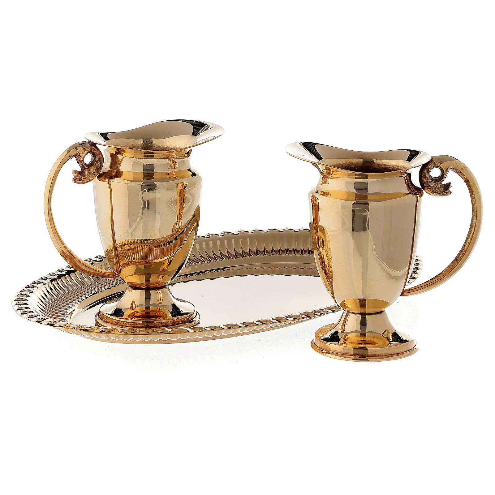 Servicio celebración vinajeras y bandeja latón dorado clásico 4